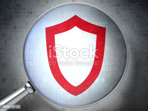 502195097istockphoto Protection concept:  Contoured Shield with optical glass on digi 459519733