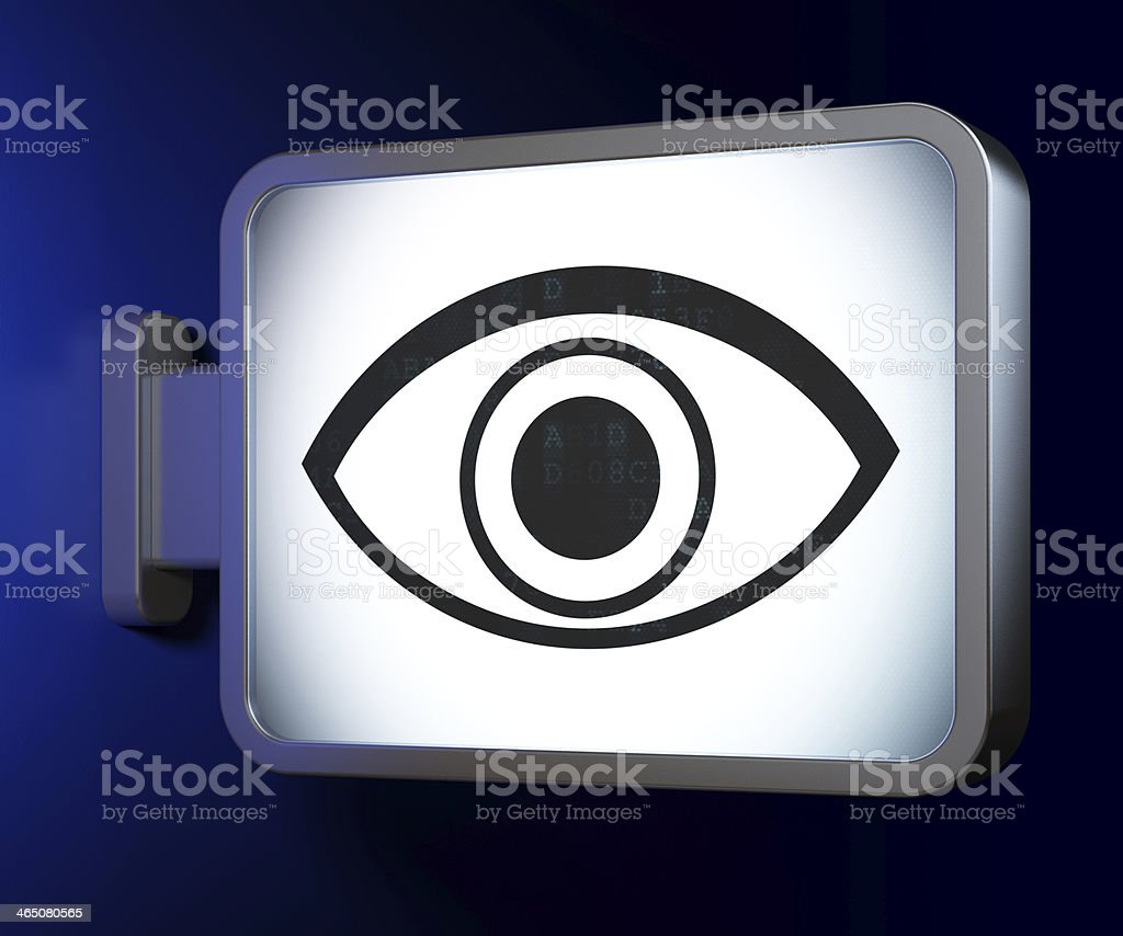 Protection concept: Eye on billboard background royalty-free stock photo