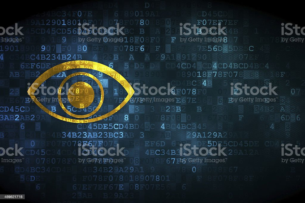 Protection concept: Eye on digital background stock photo