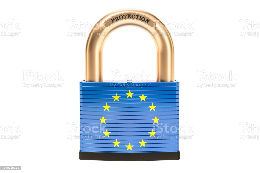 Protection concept, flag of the EU with padlock. 3D rendering stock photo