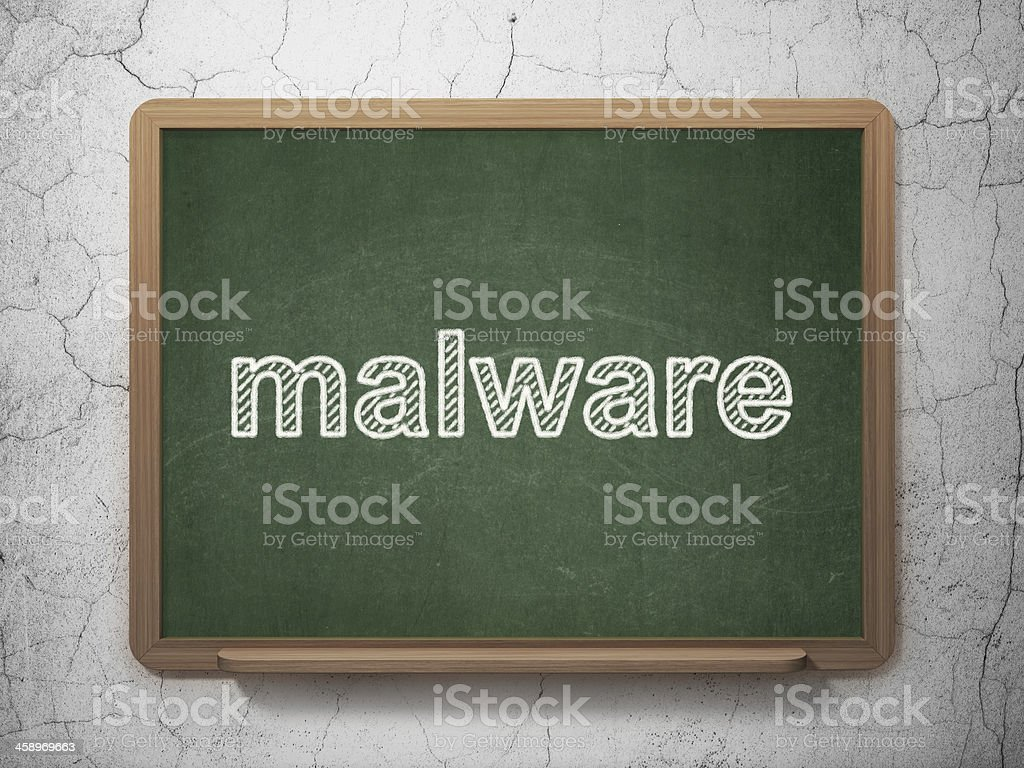 Protection concept: Malware on chalkboard background royalty-free stock photo