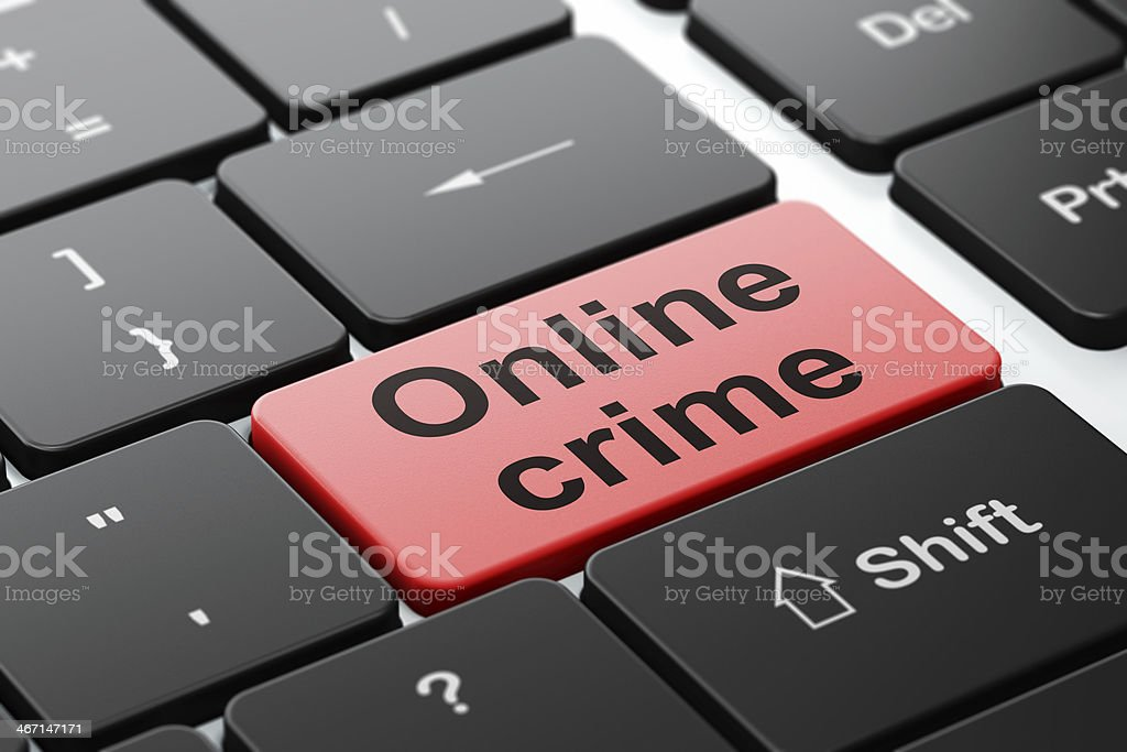 Protection concept: Online Crime on computer keyboard background royalty-free stock photo