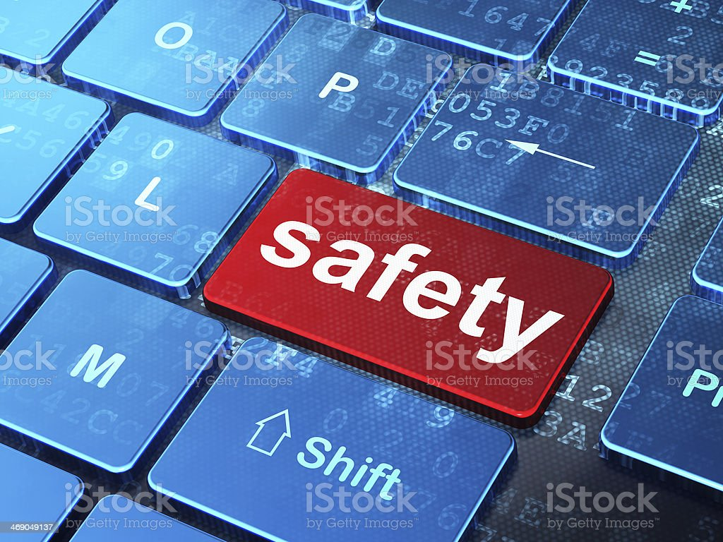 Protection concept: Safety on computer keyboard background stock photo