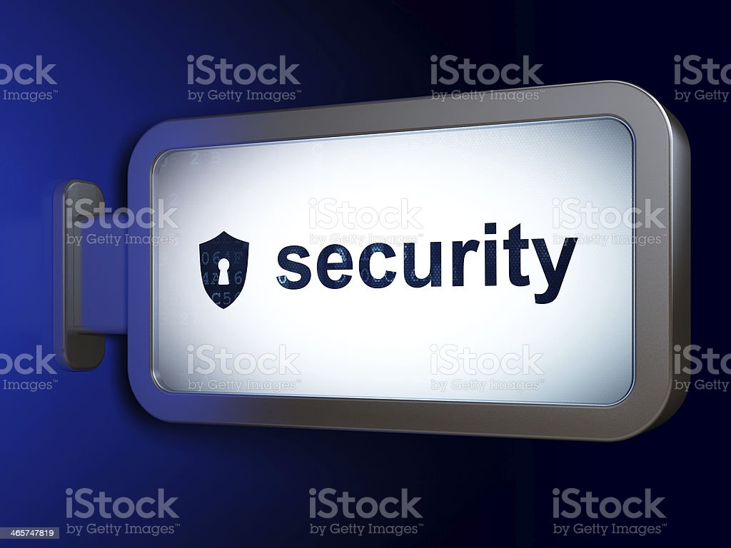 Protection concept: Security and Shield With Keyhole on billboard background royalty-free stock photo