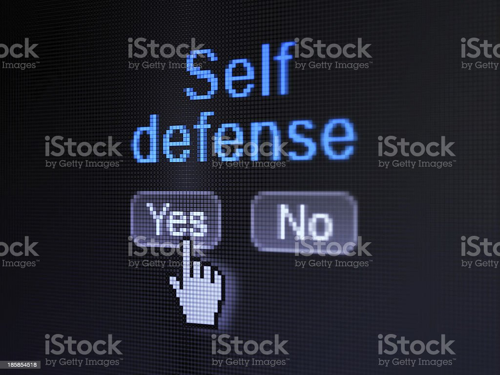 Protection concept: Self Defense on digital computer screen royalty-free stock photo