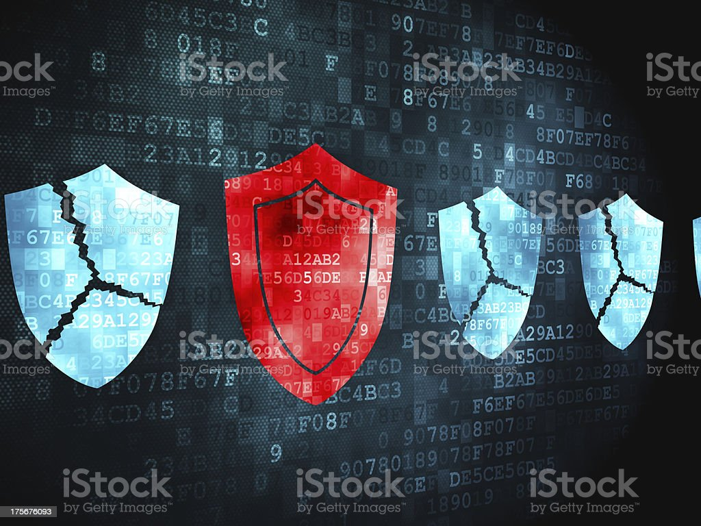 Protection concept: Shield on digital background stock photo