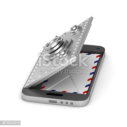 istock Protection mail in phone on white background. Isolated 3D illustration 871024474
