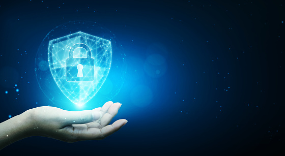 Protection network cyber security computer and safe your data concept, Businessman holding shield protect icon