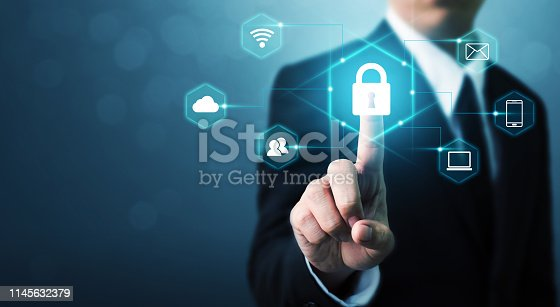 istock Protection network security computer and safe your data concept. Digital crime by an anonymous hacker 1145632379