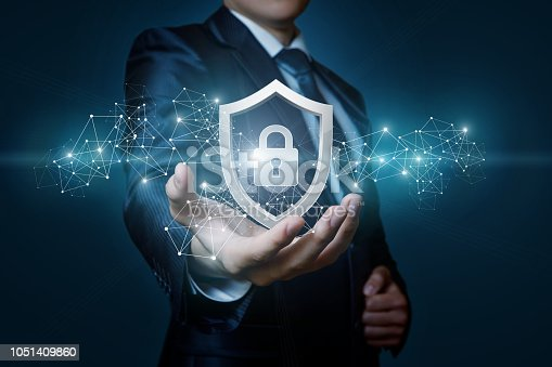 istock Protection network security computer in the hands of a businessman . 1051409860