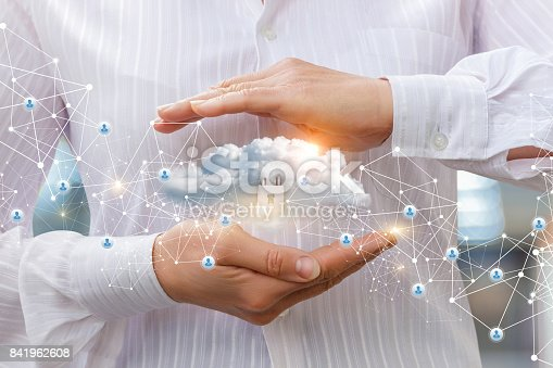 istock Protection of cloud data to network . 841962608
