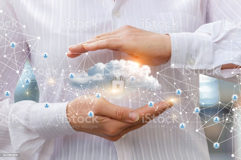 Protection of cloud data to network . stock photo