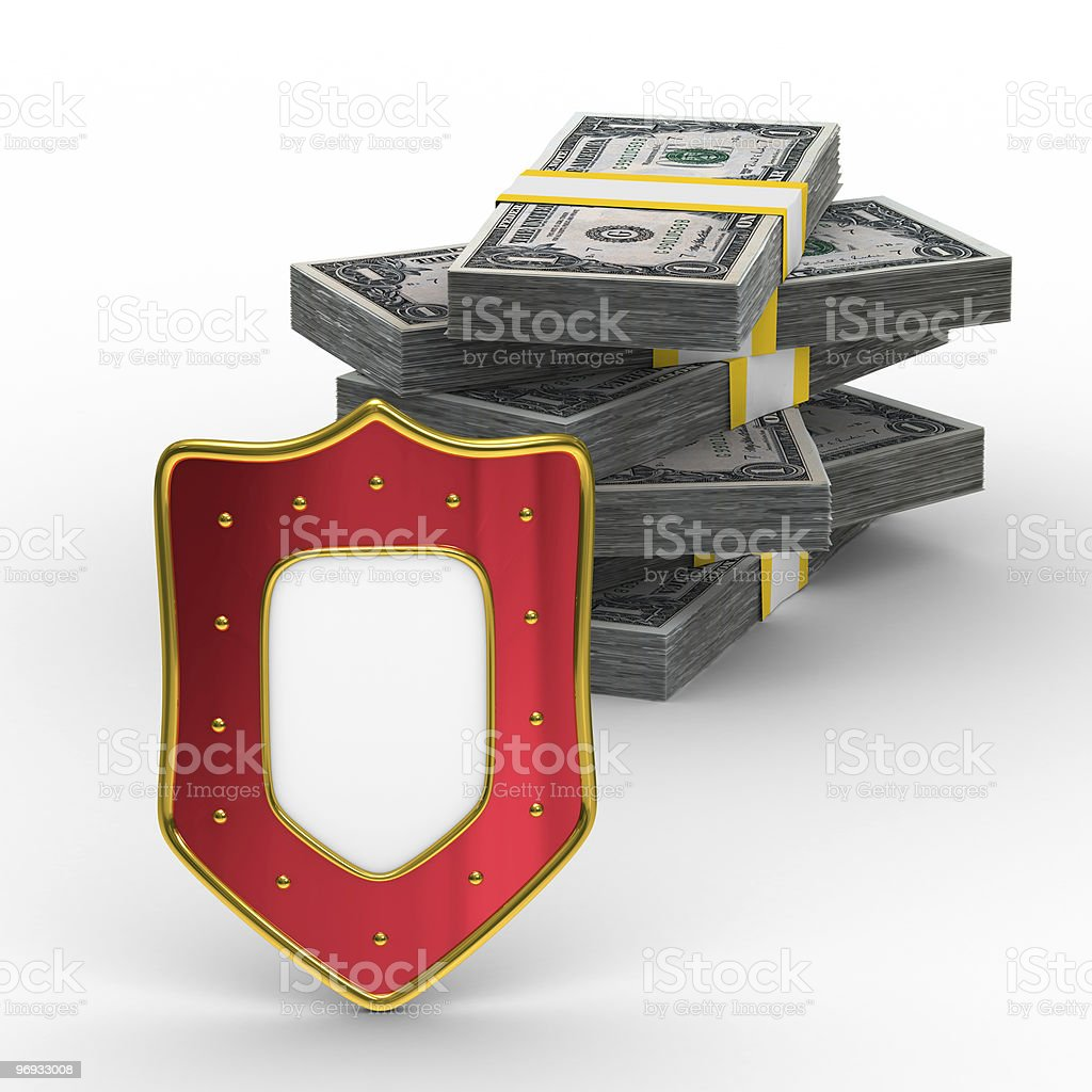 Protection of money. Isolated 3D image on white background royalty-free stock photo
