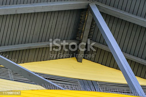 protection of roof wooden structures against bird landing with many needles