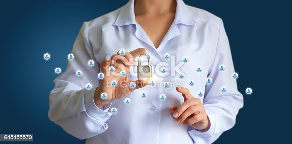 istock Protection of social networks with a lock. 645455570