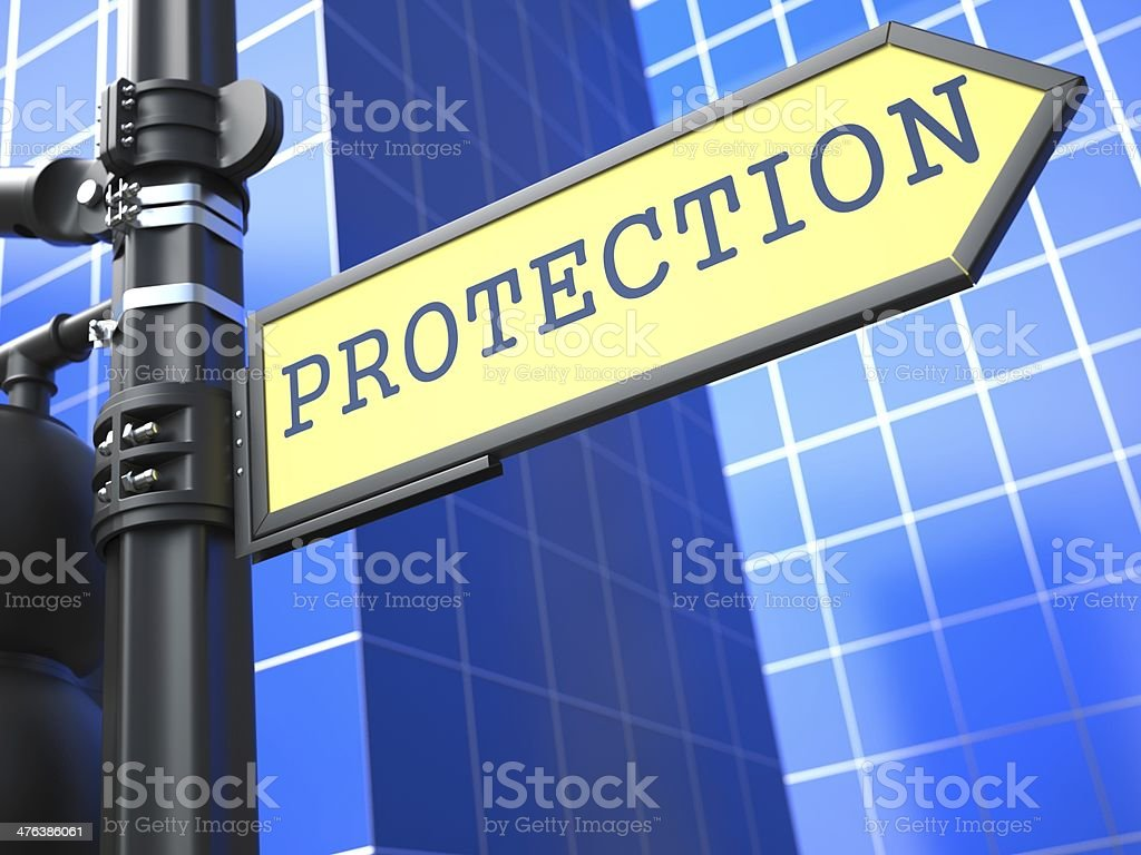 Protection Roadsign. Business Concept. royalty-free stock photo