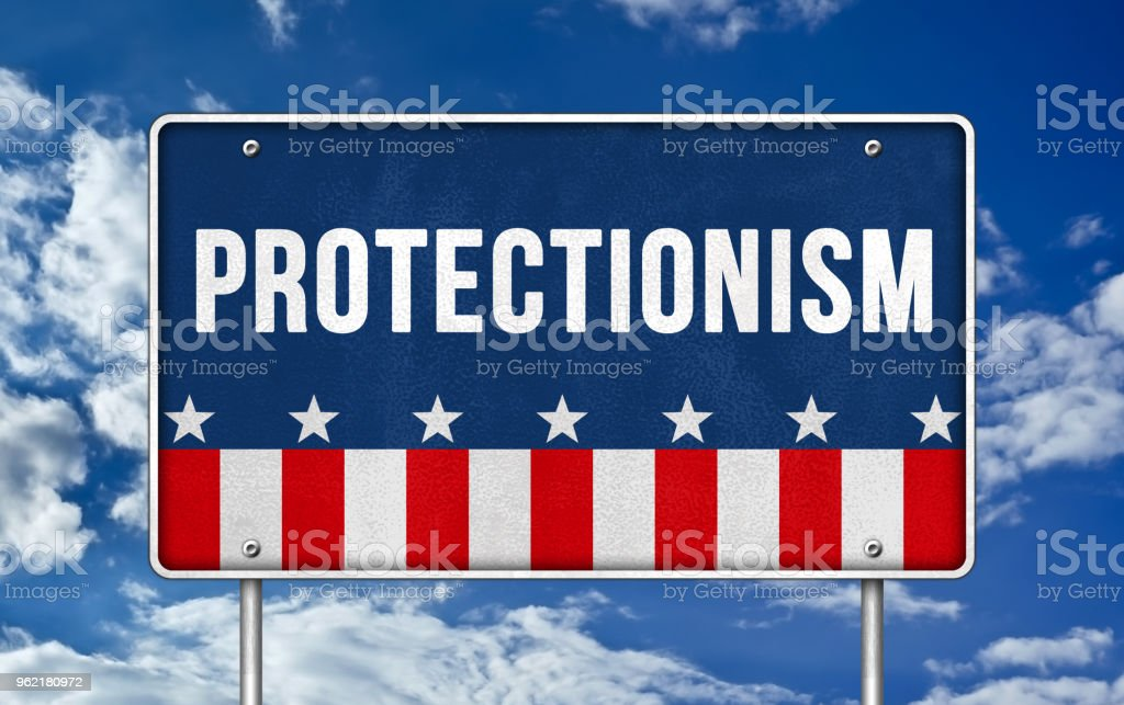Protectionism - road sign concept stock photo