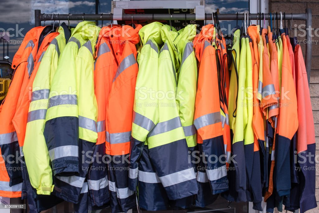 Protective clothing on rack stock photo