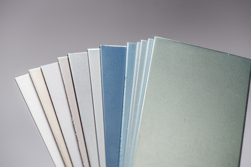 istock Protective coating of aluminum. Anodized aluminum for building profiles 1183209211