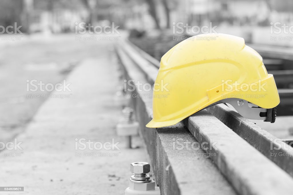 Protective construction helmet. stock photo