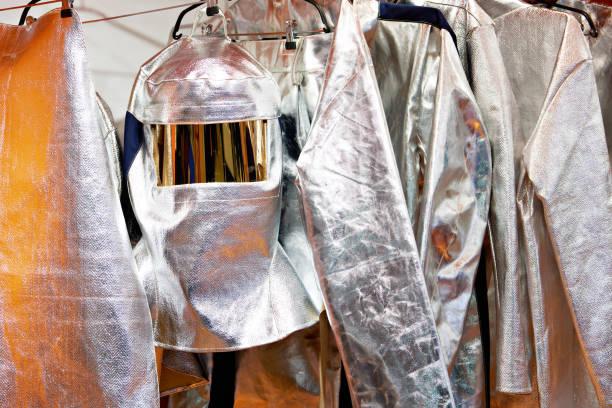 Protective fireproof suit metallic stock photo