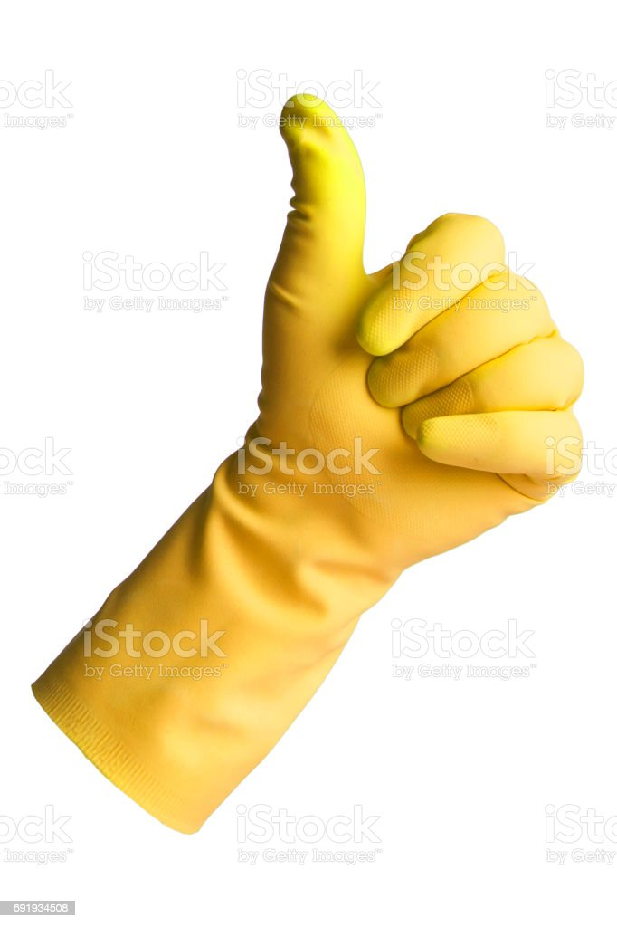 Protective Glove to make the Thumb Up stock photo