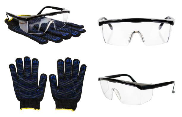 Protective gloves and glasses, set and collection. Protective gloves and glasses, set and collection. Isolated on white background protective eyewear stock pictures, royalty-free photos & images