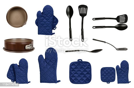 istock Protective gloves and mitt for backery, set and collection 1154774765