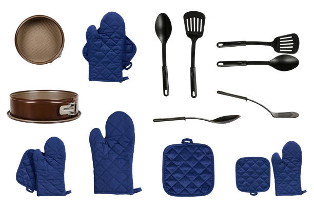 protective gloves and mitt for backery, set and collection - indumento sportivo protettivo foto e immagini stock