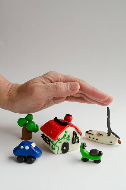 Protective hand stock photo