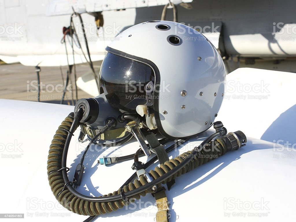 Protective helmet of the pilot stock photo