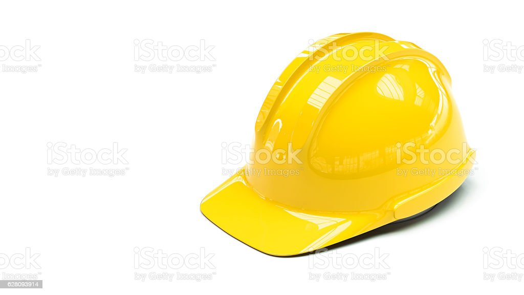 protective helmet on white background with copy space on left stock photo