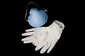 Maschera protettiva e di guanti in lattice