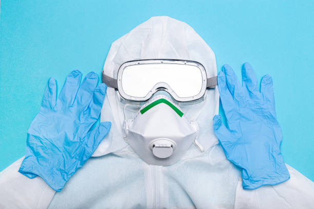 Protective suit to fight to Coronavirus COVID-19 virus outbreak stock photo