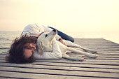 istock Protective woman embracing his dog while sleeping 538898498