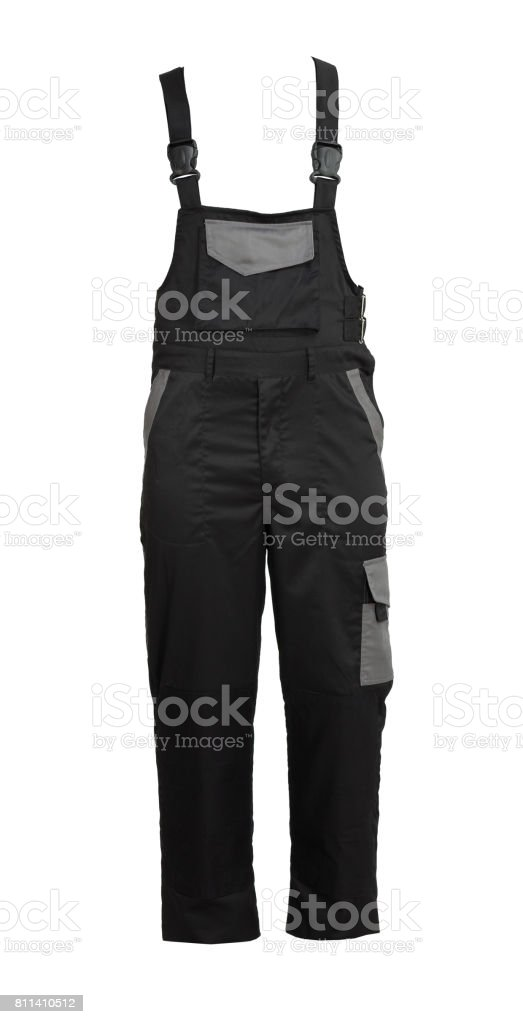 Protective work black salopette, isolated on white stock photo