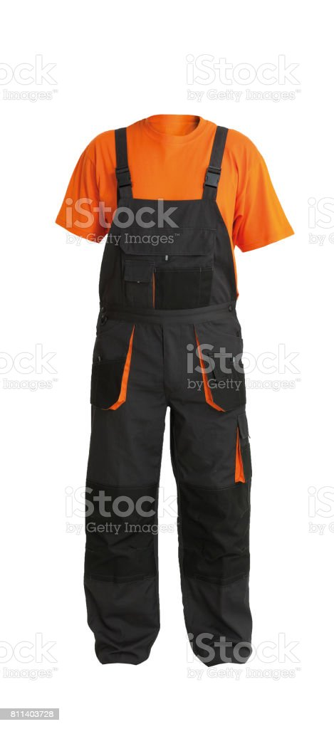 Protective work overall and orange t-shirt, isolated on white stock photo