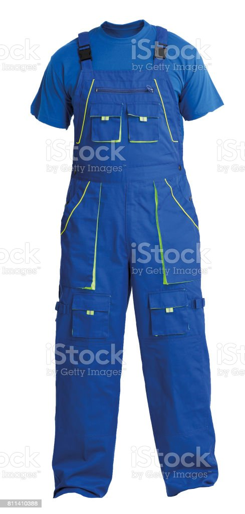 Protective workers blue trou and blue t-shirt, isolated on white stock photo