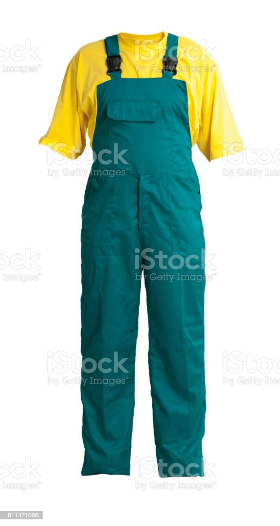 Protective workers green trou and buckles with yellow t-shirt, isolated on white stock photo