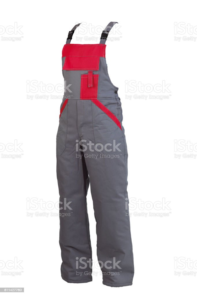 Protective worker's grey trou with buckles, isolated on white background stock photo