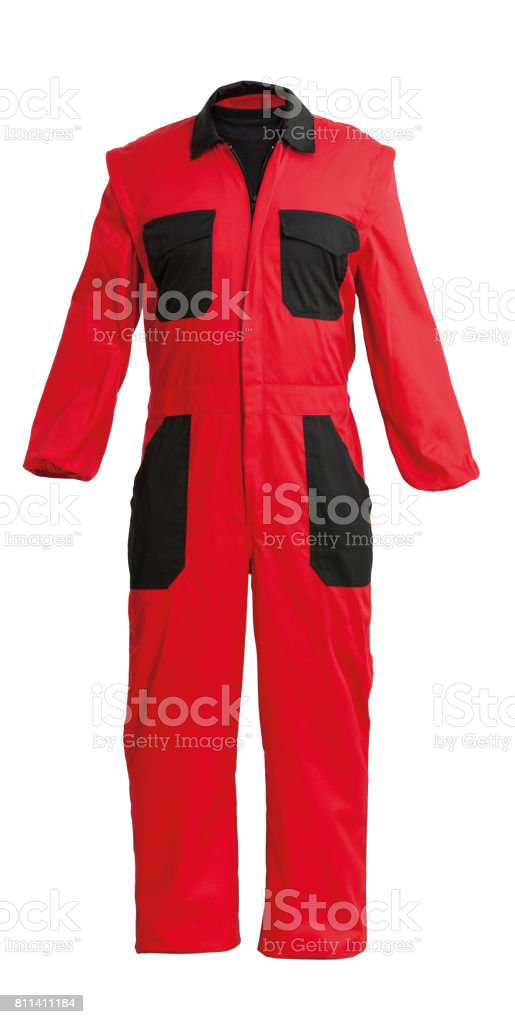 Protective worker's red overall, isolated on white with clipping path stock photo
