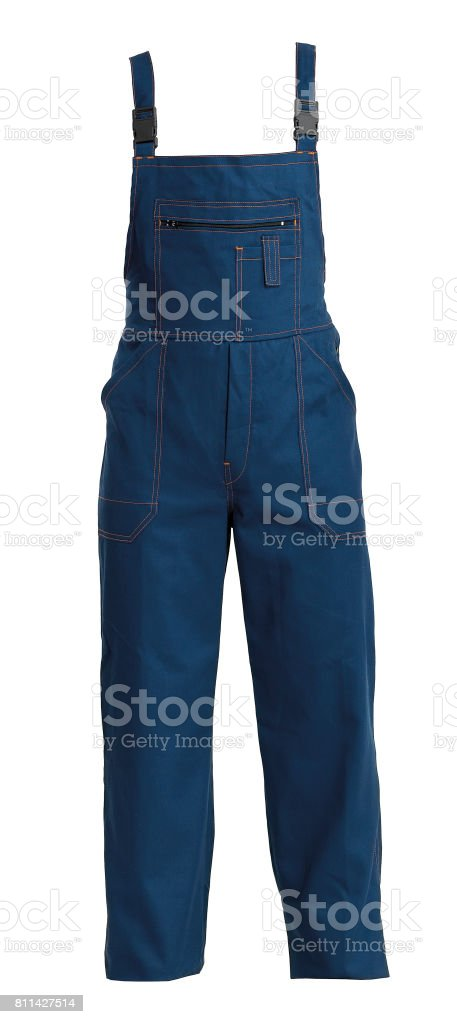 Protective working bluejeans trou, isolated on white stock photo