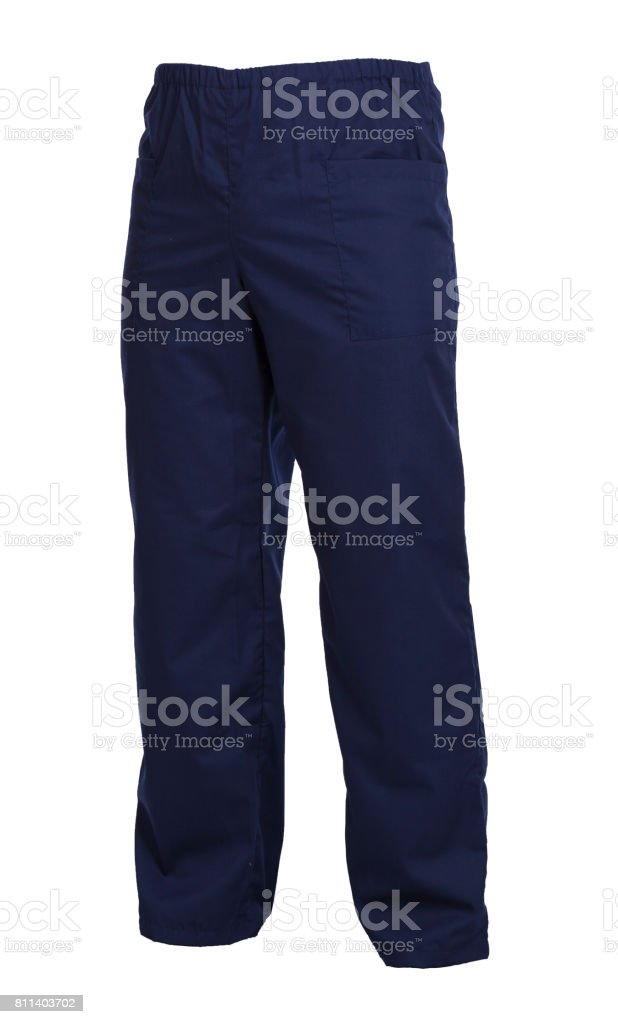 Protective working trousers isolated on white background - Royalty-free Blue Stock Photo
