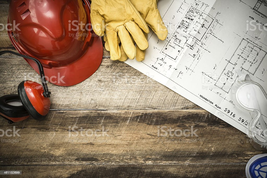Protective Workwear Constriction Background stock photo