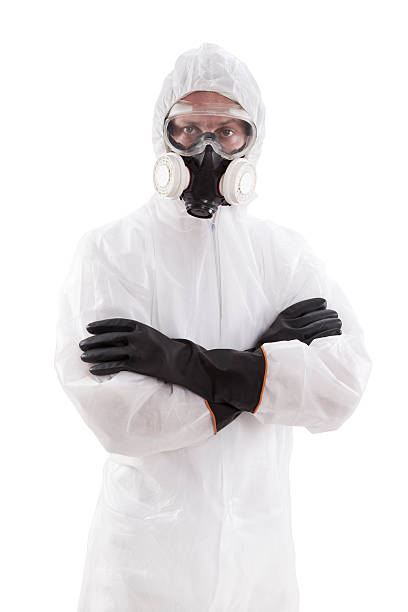 protective workwear - white suit stock photos and pictures