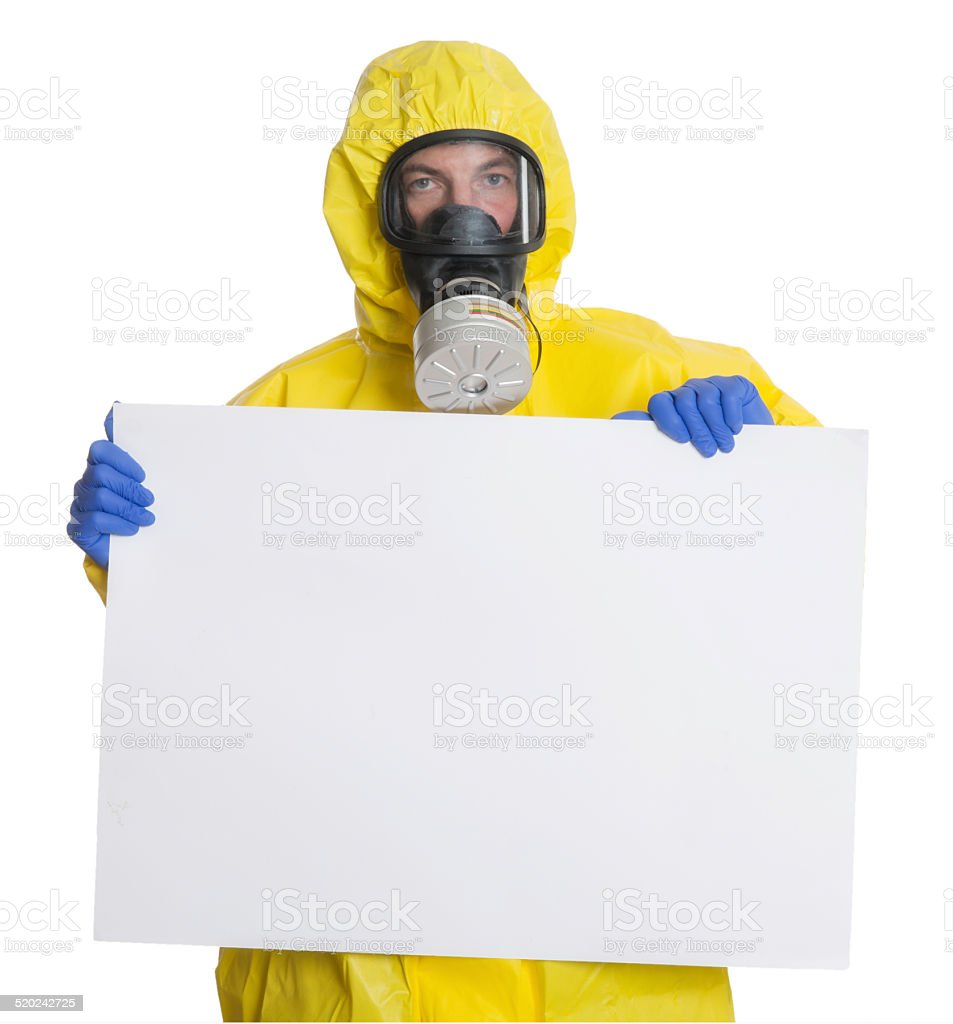 Protective workwear with warning sign stock photo