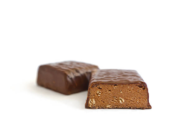 Protein Bar Cut in Half stock photo