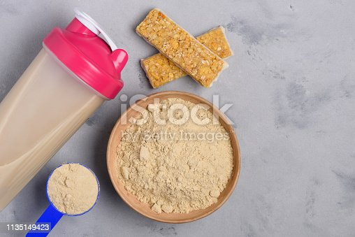 Protein bowl and shaker with grain snack bars fitness healthy nutrition