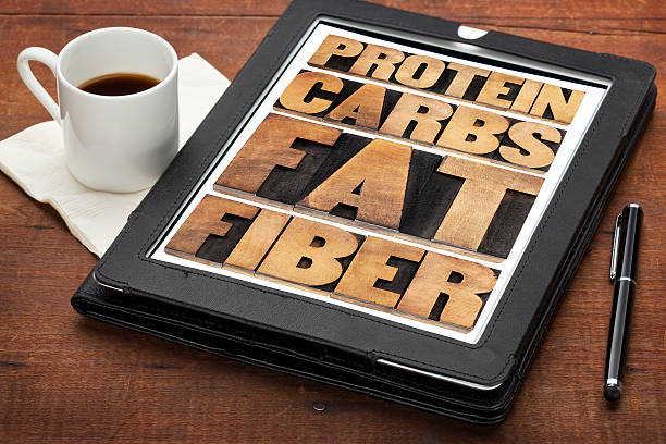 protein, carbs, fat and fiber stock photo