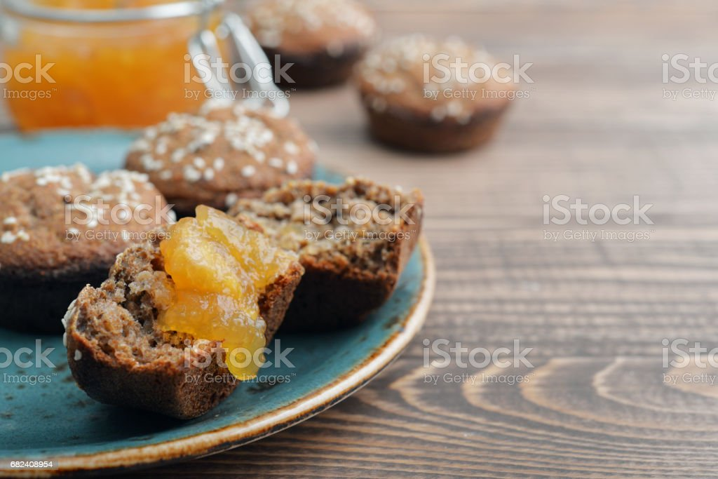 Protein muffin  with jam stock photo